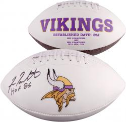 Fran Tarkenton Minnesota Vikings Autographed White Panel Football with HOF 86 Inscription - Mounted Memories