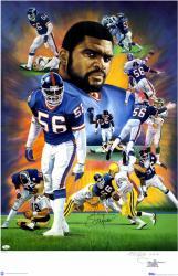 Lawrence Taylor Autographed Giants 38x25 Lithograph LE #1-300