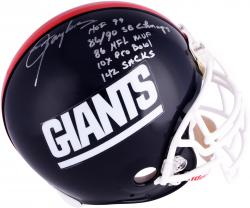 Lawrence Taylor New York Giants Autographed Riddell Pro-Line Authentic 1981-99 Helmet with Multiple Inscriptions-#56 of a Limited Edition of 56 - Mounted Memories