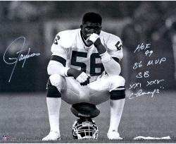 Lawrence Taylor New York Giants Autographed 16'' x 20'' Helmet Sit Photograph with Multiple Inscriptions - Mounted Memories