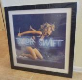 "Taylor Swift 1989 Live Neon Lithograph Framed & Signed 22"" X 22"" PSA Guaranteed"