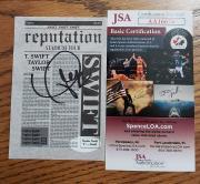 Taylor Swift Reputation Tour authentic Confetti signed JSA COA AND CARD