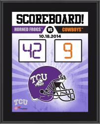 """TCU Horned Frogs 2014 Win Over Oklahoma State Cowboys Sublimated 10.5"""" x 13"""" Scoreboard Plaque"""