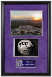 "TCU Horned Frogs Framed Shadow Box 8"" x 10"" Photograph with Mini Helmet - Mounted Memories"