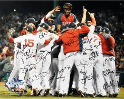 Boston Red Sox 2013 World Series Champions Team Autographed 16'' x 20'' Photograph with 20 Signatures