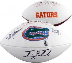 Tim Tebow, Steve Spurrier, Danny Wuerffel Florida Gators Autographed Logo Football