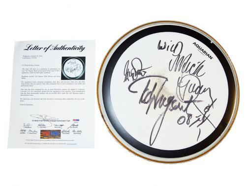 Ted Nugent Signed Concert Used Rolling Thunder Tour Drum PSA AFTAL