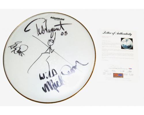 Ted Nugent Signed Concert Used Signed Drumhead 2008 Tour PSA AFTAL