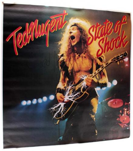 Ted Nugent Autographed Signed 1979 State Of Shock Lp Poster AFTAL