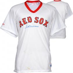 Ted Williams Autographed On Front Red Sox Jersey (PSA/DNA)