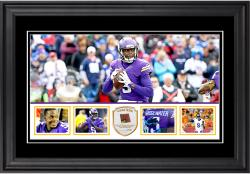 "Teddy Bridgewater Minnesota Vikings Framed 10"" x 18""  Panoramic with Piece of Game-Used Football - Limited Edition of 250"