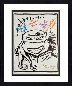 Teenage Mutant Ninja Turtles TMNT Cast (5) Signed 11x14 Canvas Sketch B~ BAS COA