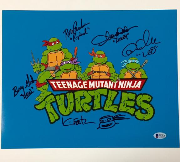 Teenage Mutant Ninja Turtles TMNT Cast (5) Signed 11x14 Photo + Sketch BAS COA
