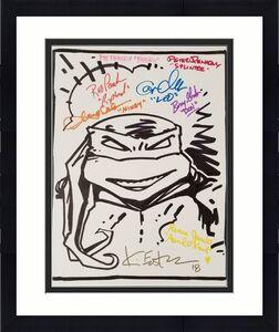Teenage Mutant Ninja Turtles TMNT Cast (8) Signed 11x14 Canvas Sketch ~ BAS COA