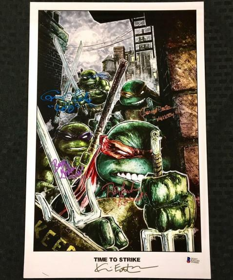 Teenage Mutant Ninja Turtles TMNT Cast Signed 11x17 Litho Photo ~Beckett BAS COA