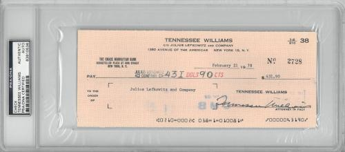 Tennessee Williams Signed Authentic Autographed Check Slabbed PSA/DNA #83910536