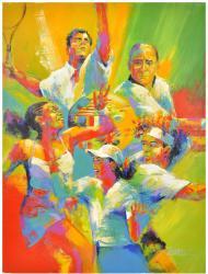 Tennis Collage (sampras, Etc) Original (artist Signed)