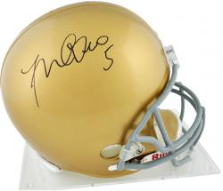 Manti Te'o Notre Dame Fighting Irish Autographed Riddell Replica Helmet - Mounted Memories