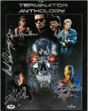 Terminator Anthology Cast (6) Multi-Signed 11x14 Photo w/ Schwarzenegger PSA/DNA