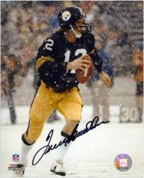 Terry Bradshaw Pittsburgh Steelers Autographed 8'' x 10'' Snow Photograph - Mounted Memories
