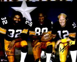 "Terry Bradshaw, Lynn Swann & Franco Harris Pittsburgh Steelers Triple Autographed 16"" x 20"" Super Bowl MVPs Photograph with ""SB IX MVP, SB X MVP, SB XIII, XIV"" Inscription"