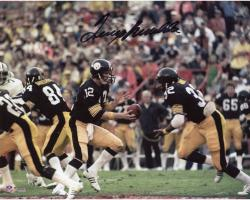"Terry Bradshaw Pittsburgh Steelers Autographed 8"" x 10"" Handoff to Franco Harris Photograph"
