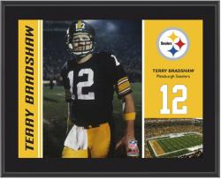 Pittsburgh Steelers Terry Bradshaw 10.5'' x 13'' Sublimated Plaque - Mounted Memories