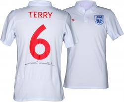 John Terry Autographed Jersey - England Home White Back Mounted Memories