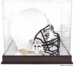 Texas A&M Aggies Mahogany Base Team Logo Helmet Display Case with Mirrored Back