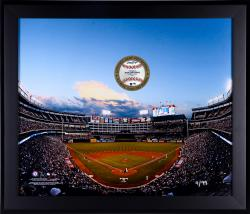 "Texas Rangers Framed 20"" x 24"" Gamebreaker Photograph with Game-Used Ball"