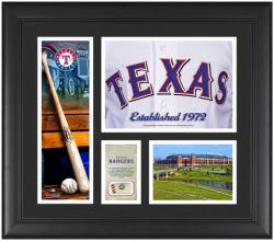 """Texas Rangers Team Logo Framed 15"""" x 17"""" Collage with Piece of Game-Used Ball"""