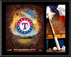 Texas Rangers Sublimated 12'' x 15'' Team Logo Plaque - Mounted Memories