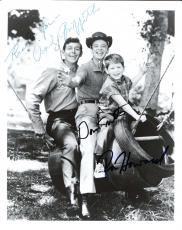 "THE ANDY GRIFFITH SHOW"" Signed by ANDY GRIFFITH as ANDY, DON KNOTTS as BARNEY, and RON HOWARD as OPIE - 8x10 B/W Photo"
