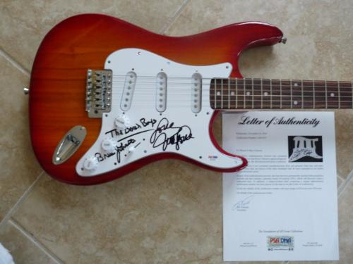 The Beach Boys Mike Love Bruce Johnston Signed Autographed Guitar PSA Certified