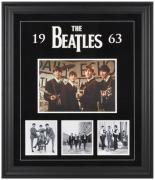 THE BEATLES FRAMED (1963) COLLAGE w/ FELT & LOGO