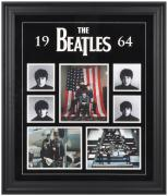 THE BEATLES FRAMED (1964) COLLAGE w/ FELT & LOGO