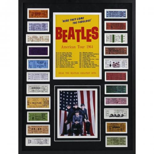 The Beatles 1964 replica ticket photo collage framed 24 x 32 Paul McCartney