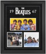 THE BEATLES FRAMED (1967) COLLAGE w/ FELT & LOGO
