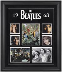 The Beatles Framed Felt and Logo 1968 Photo Collage