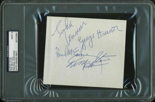 The Beatles (4) Signed 4.5X5 Album Page Graded Mint 9! PSA/DNA Slabbed