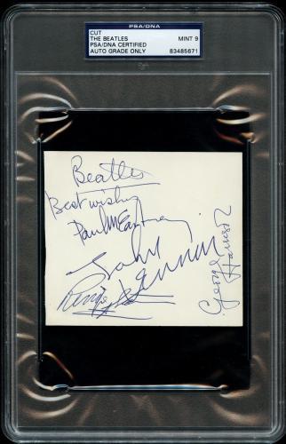 The Beatles (4) Signed Autographed Cut PSA/DNA Graded MINT 9!  John Lennon