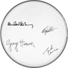 The Beatles Autographed Facsimile Signed Paul Mccartney John Lennon+ Clear Drumhead