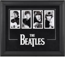 BEATLES FRAMED 4-PHOTO COLLAGE w/LASER-CUT LOGO