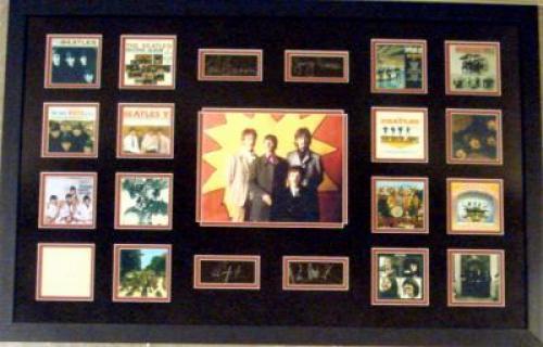 The Beatles framed matted mini album cover images with laser signatures Ringo Starr Paul McCartney John Lennon George Harrison 22x34 black