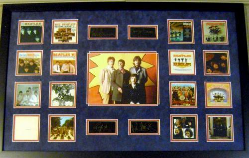 The Beatles framed matted mini album cover images with laser signatures Ringo Starr Paul McCartney John Lennon George Harrison 22x34 blue