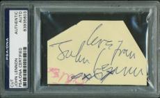 The Beatles John Lennon Signed Autographed 2x3 Album Page PSA/DNA