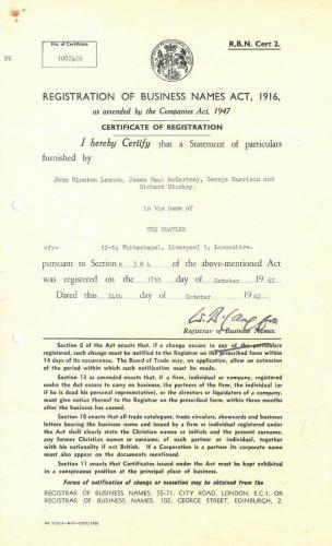 The Beatles Original Certificate of Registration Legal Document *RARE*