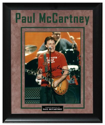 The Beatles Paul McCartney Hofner Bass Guitar Signed Custom Display Photo AFTAL