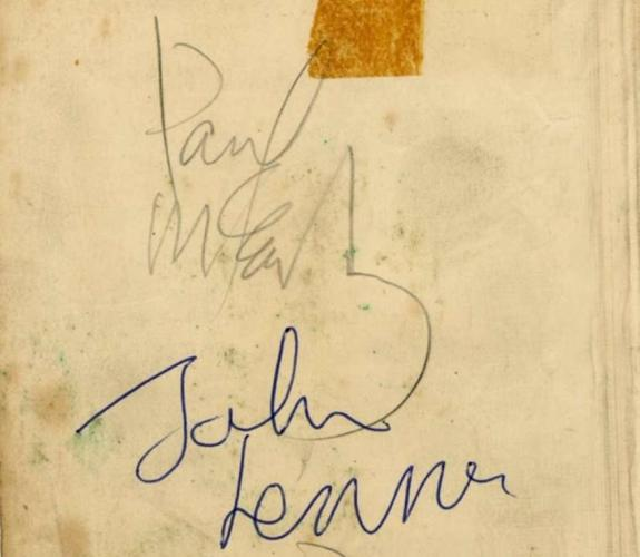 The Beatles Paul McCartney John Lennon Signed 4x5 Album Page Beckett BAS