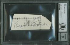 The Beatles Paul McCartney Signed Autographed 1x3 Album Page Beckett BAS MINT 9